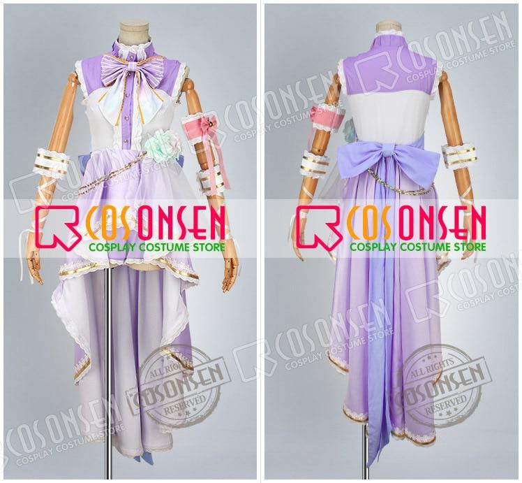 Love Live White Valentine/'s Day Nishikino Maki Cosplay Costume Purple Dress Wing