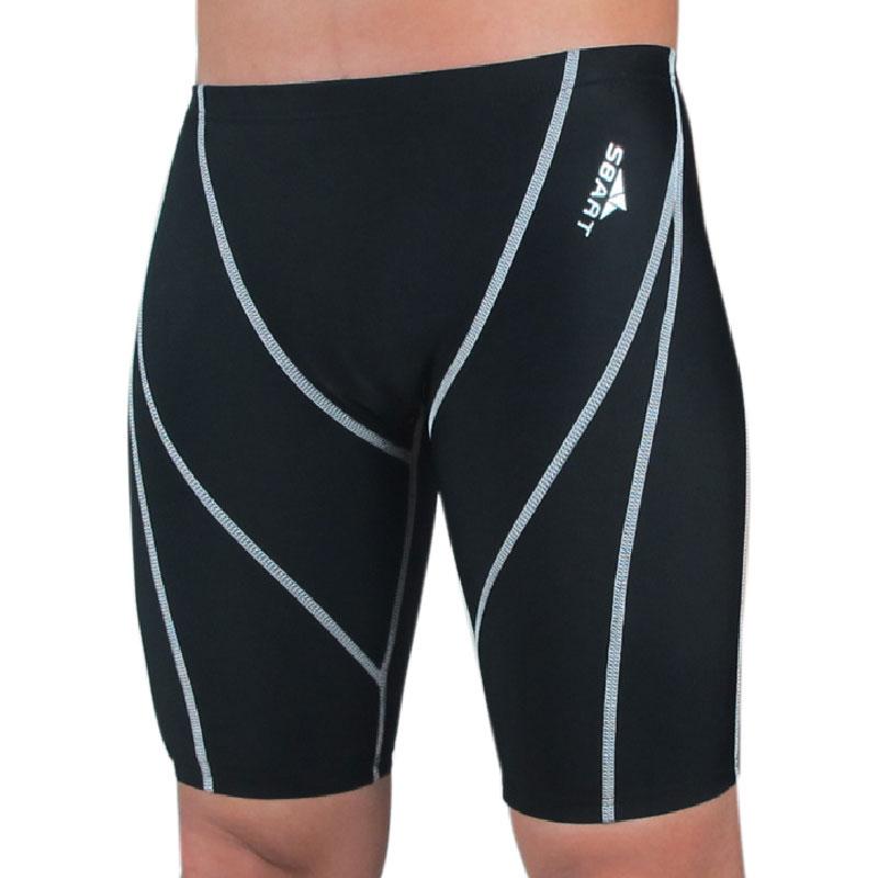 Sharkskin waterproof Professional Jammer Swimming  uv protection swim trunks For man Black swimwear shorts