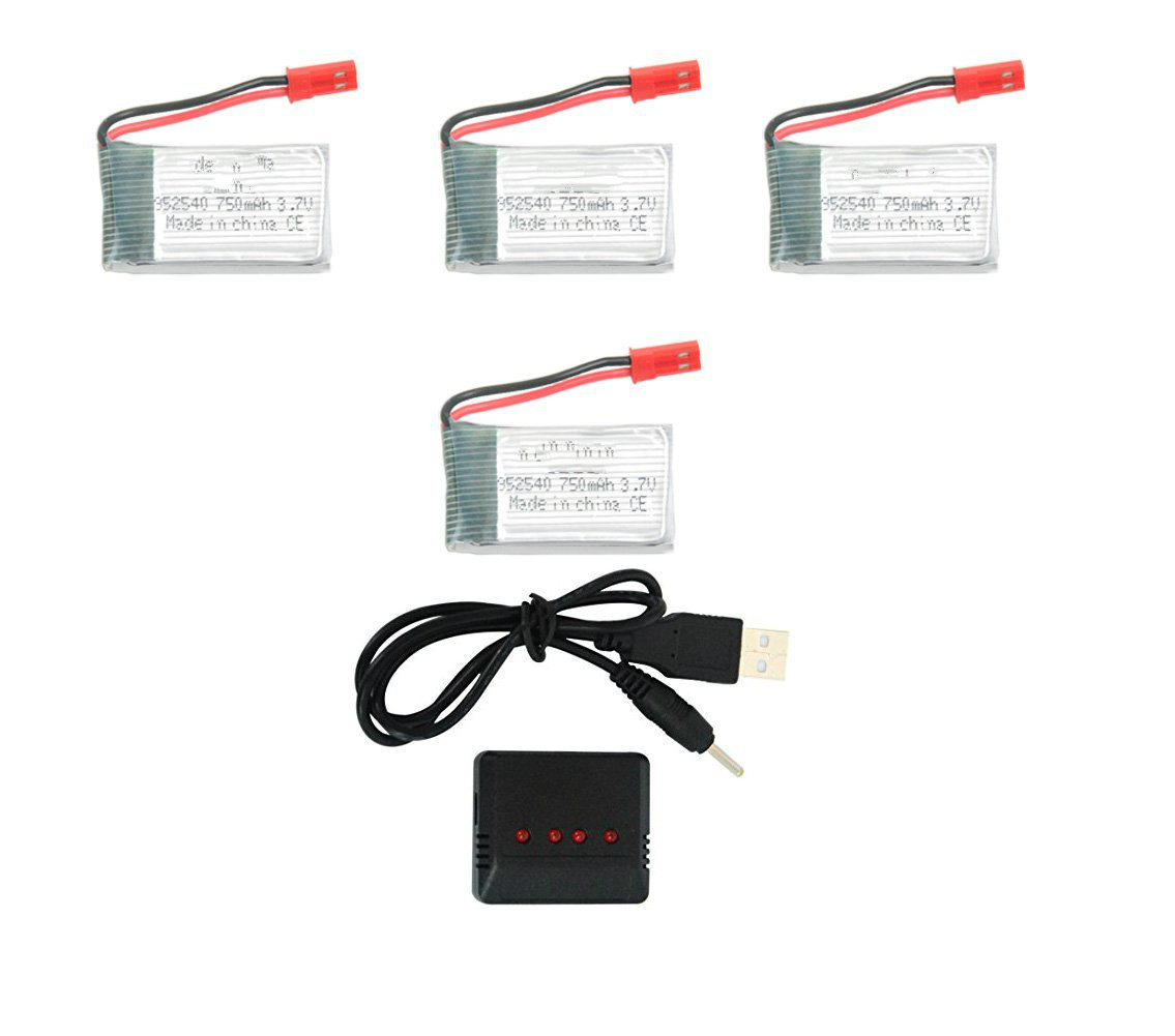 4 pcs 3.7v 750mah 25c Lipo Battery (JST Plug) with X4 Charger for MJX X400 X800 X300C X500 X200 RC Quadcopter Drone