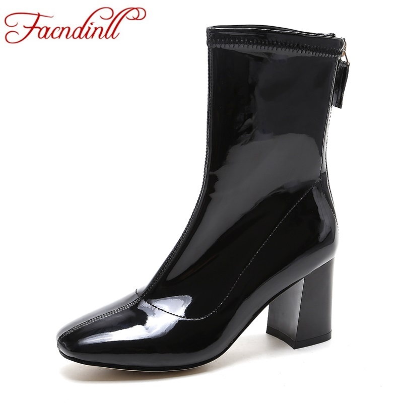 FACNDINLL shoes 2017 fashion women ankle boots thick high heels square toe patent leather black ladies riding boots size 34-41