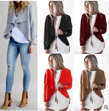 2018 Autumn And Winter New Womens Wear European Style Windbreaker  Long Sleeves Irregular Coat