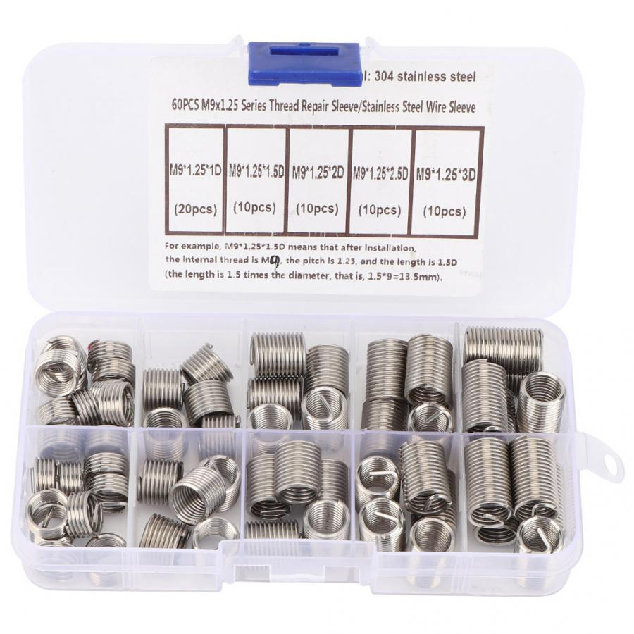 50PCS Gewindeeins/ätze M6 1,0 1,5D Edelstahl-Draht Helicoil Fasteners Hardware-Reparatur-Werkzeuge Schraubh/ülse Set /& Farbe: Silber