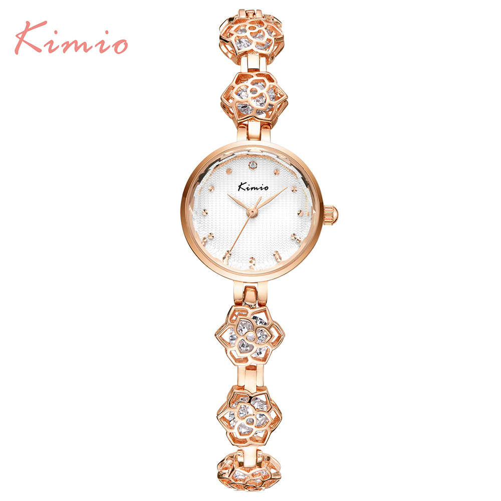 2016 New Kimio Brand Women's watches unique design Camellia Quartz bracelet wristwatches women ladies dress watch with Gift Box kimio brand women watches luxury ladies quartz watch fashion bracelet watches gold mesh band clock 2017girl s gift wristwatches