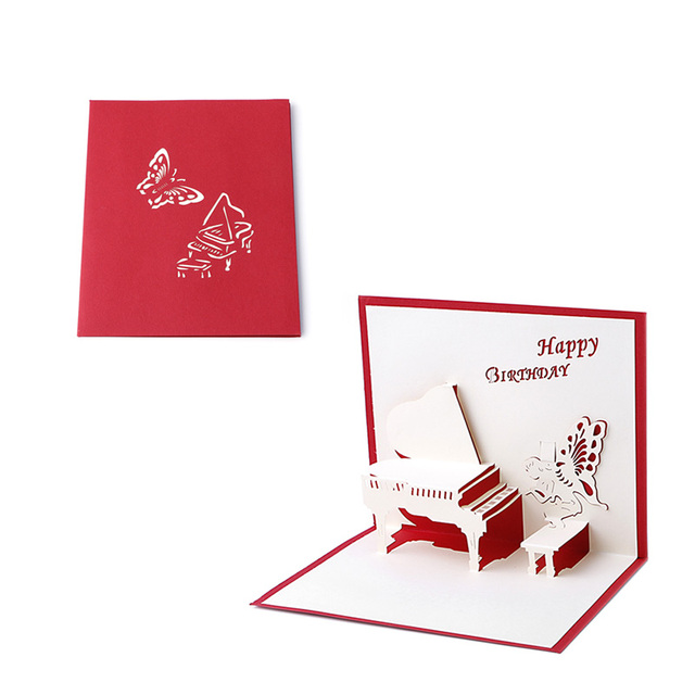Handicraft 3D Pop UP Holiday Greeting Cards Piano Butterfly