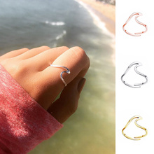 RE Resizable Wave Wedding Ring For Women Jewelry Accessories Engagement Dress Party ring stainless steel J40