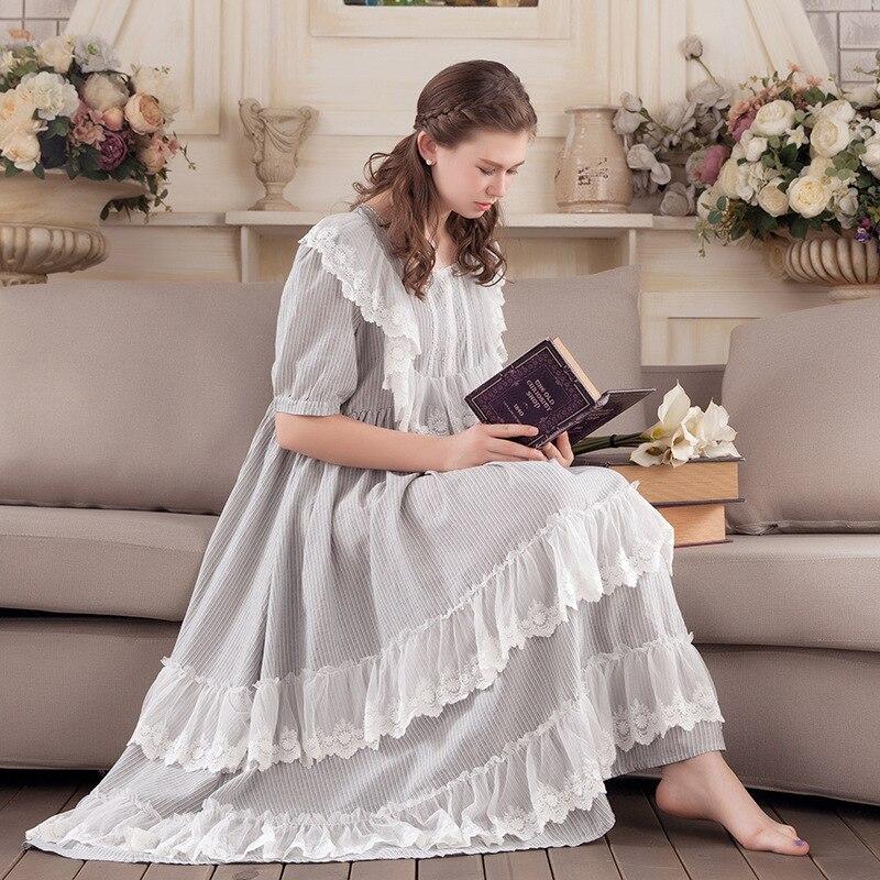 QWEEK coton chemises de nuit femmes Sexy chemise de nuit Court vêtements de nuit princesse longue chemise de nuit lâche femme enceinte nuit vêtements de nuit
