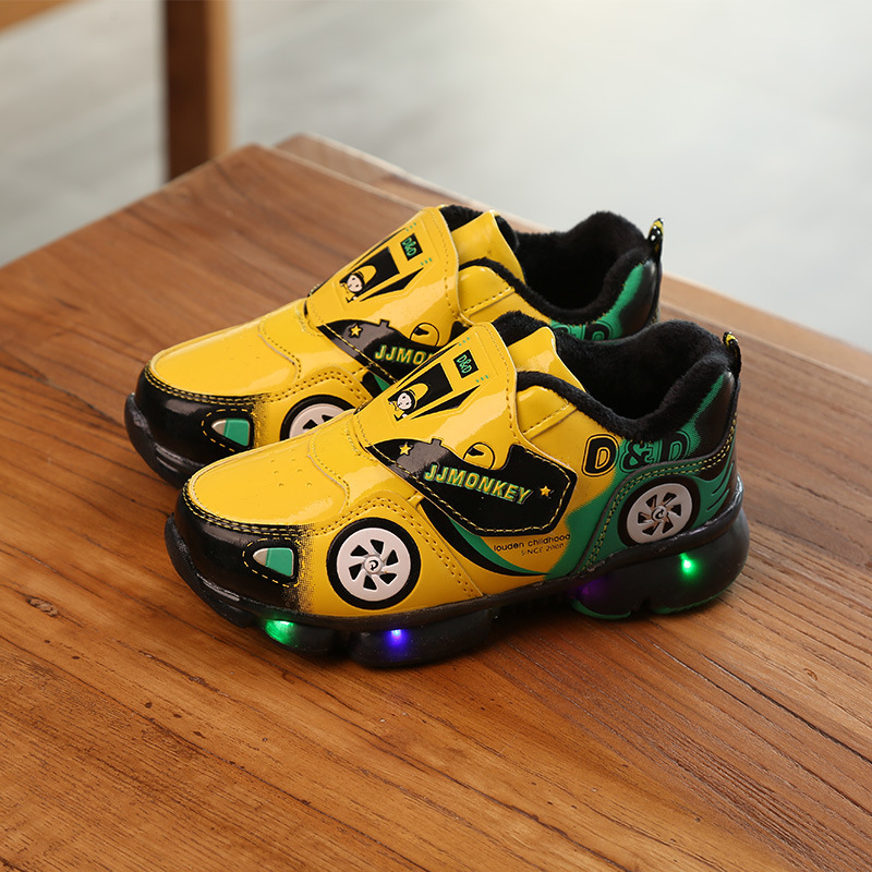 Davidyue Luminous Sport Sneakers  Kids Shoes PU Leather Girls Boys Kids Shoes Led Children Glowing Lighted Baby  Kid Shoe