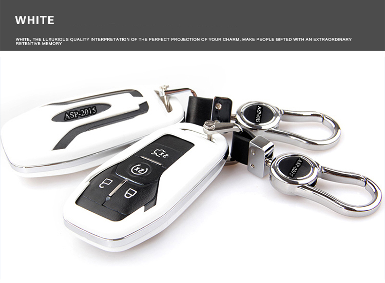 White Car Key Shell Case Bag Car Styling Key Cover For Ford Taurus Explorer  Mustang For Ford Key Fob Case Protector Bag