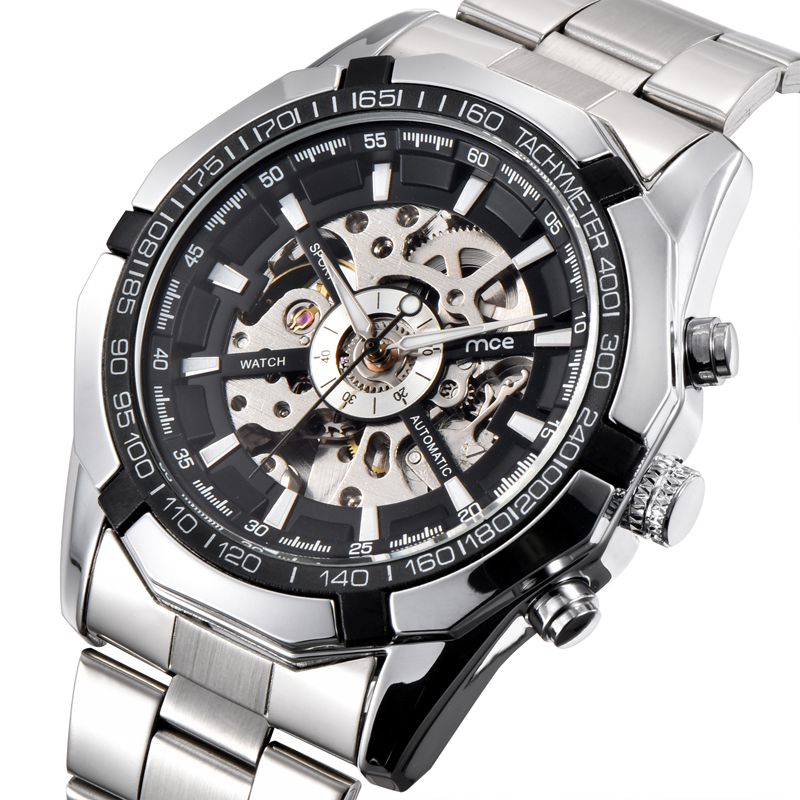 2018 new MCE brand Automatic Mechanical Watches for men fashion Vacuum plating skeleton Watch stainless steel strap clock 273 mce men s fashion stainless steel band analog mechanical watch black silver