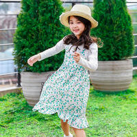 Baby Girls Dresses 2018 New Autumn Cotton Full Sleeves Print 1pcs O Neck Small Flowers Print