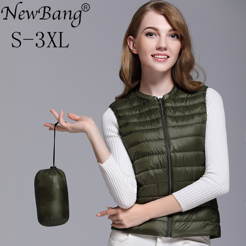 NewBang Vest Of Women Ultra Light Down Vests Portable Sleeveless Female Windbreaker Warm Waistcoat O-Neck Collar Winter Liner