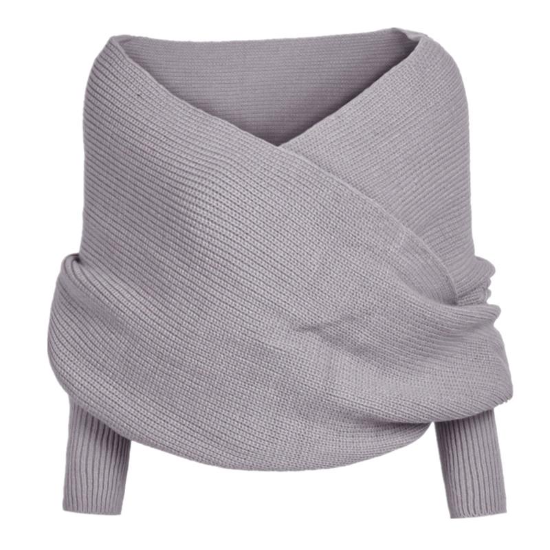 Yusongirl Women Fashion Sweaters Cross Wrap Scarf Shawl Deep V Off Shoulder Knit Pullover Sweatshirts Sweater Tops