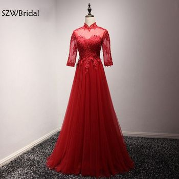 New Arrival Real photo Long sleeve Evening dress 2020 Saudi Arabic Evening dresses Lace Beaded abendkleider avondjurk abiye