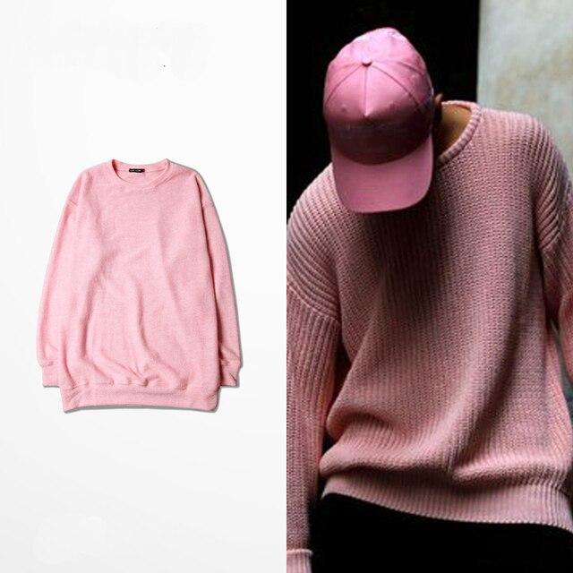 S-XXXL 2016 Kanye WEST GD Quan Zhilong o sol com uma retro rosa camisola OVERSIZE high street