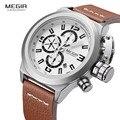 Megir Mens Fashion Chronograph Luminous Mãos Calendário Data de Couro Marrom Ocasional Militar Relógios de Pulso de Quartzo 2029