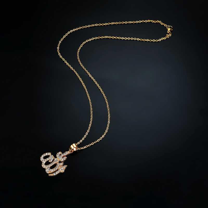 銅男性ゴールドネックレスジュエリーアイスアウト教徒はアッラーのペンダントネックレスキューバチェーンイスラムコーランラインストーン手紙ネックレス