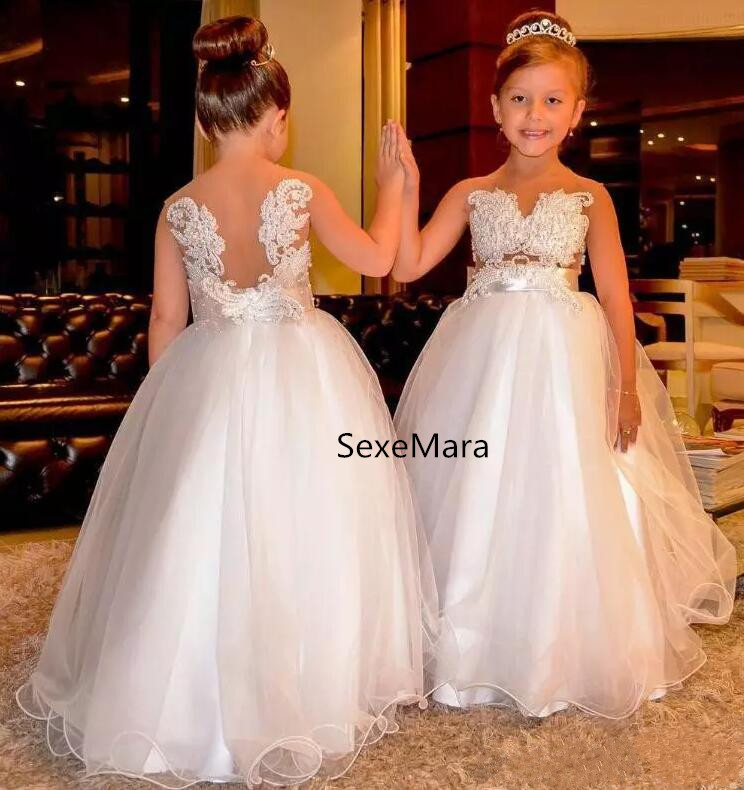 Arabic 2018 Sheer Neck Lace Appliques Flower Girl Dresses for Wedding Sleeveless Pearl Backless Tulle Little Girl Pageant Dress fashionable jewel neck backless fringe sleeveless tank top for women