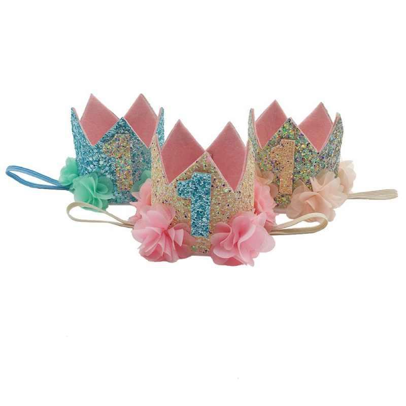 Children's Flowers Digital Crown Birthday Party Performance Hair Band Newborn Toddler Headband Kids Baby Headdress