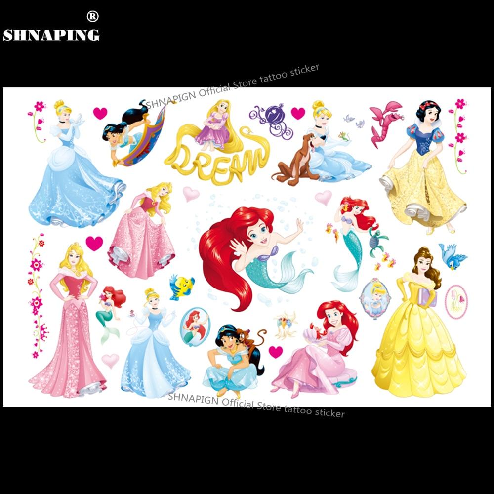 SHNAPIGN Mermaid Princess Children Cartoon Temporary Tattoos Sticker Fashion Summer Style Elsa Waterproof Girls Kids Boys Hot