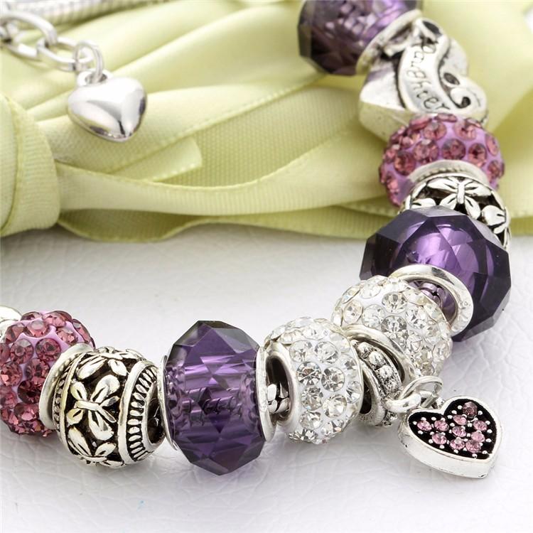 17KM Vintage Silver Color Charm Glass Bracelets For Women 17 New Crystal Heart Beads Bracelets & Bangles Pulseras DIY Jewelry 42