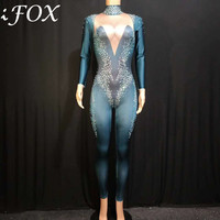 New Arrival Stage Dancer Costume Women's Rhinestone One Piece Evening Party Costume Sparkly Crystals Bodysuit Stage Wear