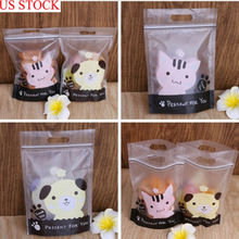 50Pcs food plastic DIY biscuit dessert Cute Kitty puppy Plastic Candy Cookie Bag Self Adhesive Bags gift bags
