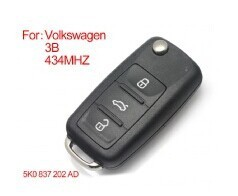 Keyecu New Smart Remote Key Fob 3 Button For VW VOLKSWAGEN New Bora SagitarTouran 5K0837202AD 5K0 837 202 AD 433HZ ID48 CHIP