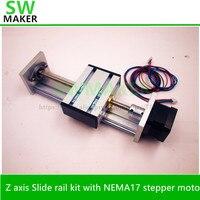 Zสไลด์แกนรถไฟชุดที่มีNEMA17 s tepper motor 100-1000มิลลิเมตรจังหวะที่มีประสิทธิภาพTR8สกรูนำสำหรับCNC r eprap