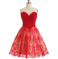 2018 A Line Red Color Lace Cocktail Dress Sexy Sleeveless Sweetheart Short Party Gown Plus Size Custom Made Abito Cocktail Donna