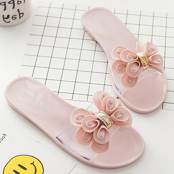2417ef14121560 Slides Women Flat Shoes Summer Flip Flops Indoor Outdoor Home House Slippers  Floral Bow Tie Transparent Beach Sandals Fashion