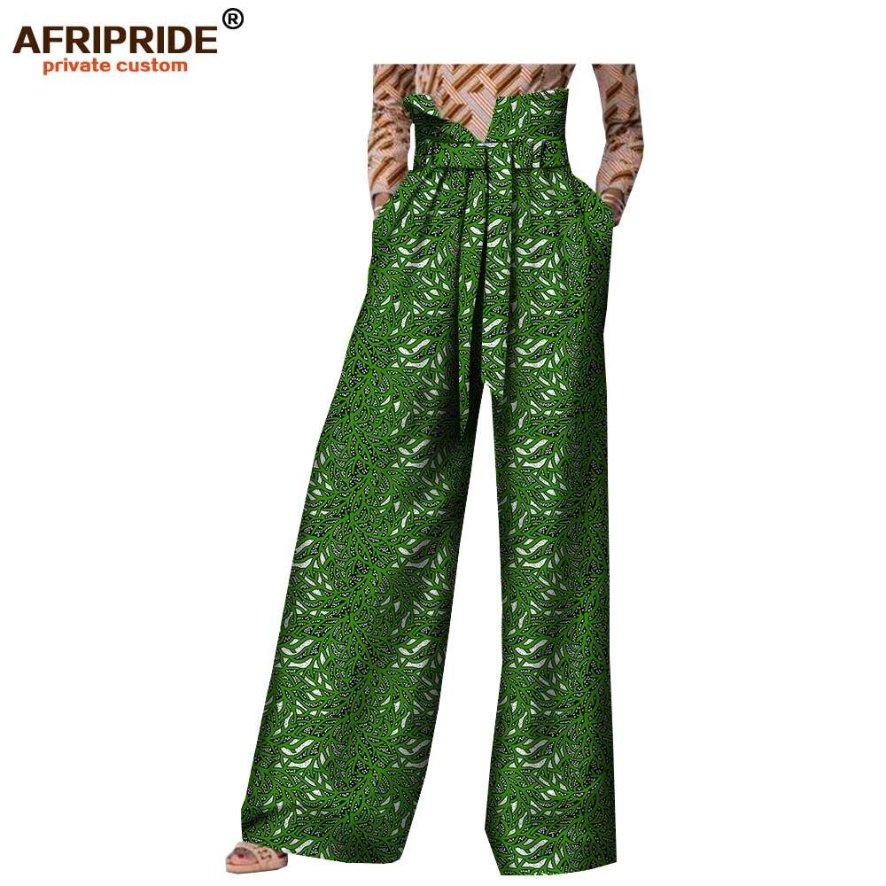2018 spring casual wide leg pants for women AFRIPRIDE customzied high waist full length back zipper