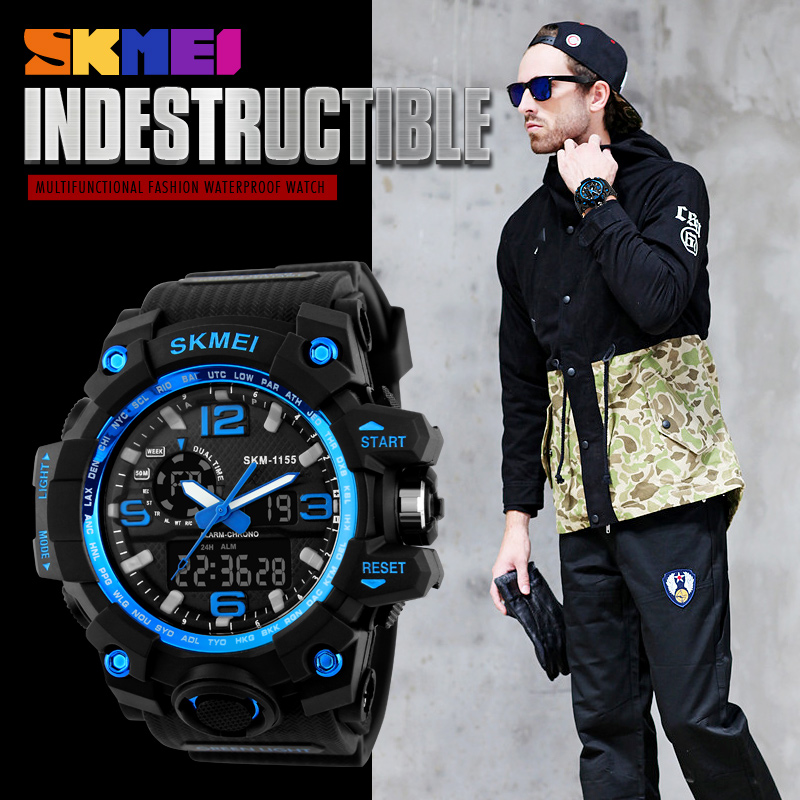 New SKMEI Brand Men's Chronograph Sports Military Watches Men Analog LED Digital Watch PU strap Wristwatches relogio masculino