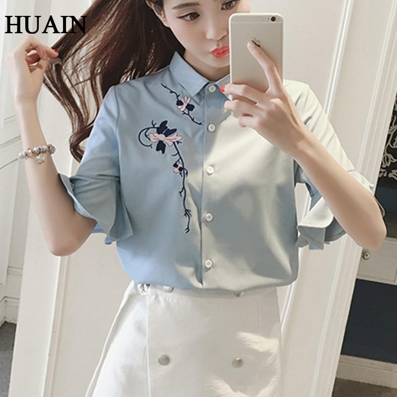 1e23d302930 Цветок вышивка блузка рубашка женщины flare рукавом хлопок блузка лето 2017  новы