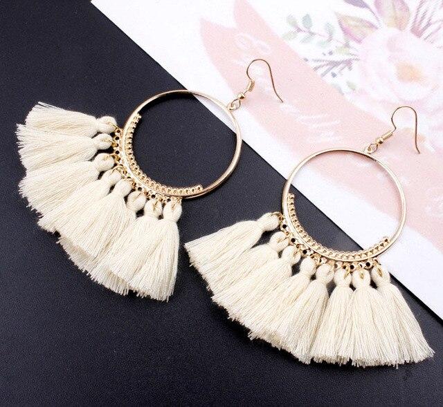 Bohemian Long Tassel Earrings For Women 2018 Fashion Jewelry Gold Color Pendientes Fringe Dangle Earrings Female Wedding Gift