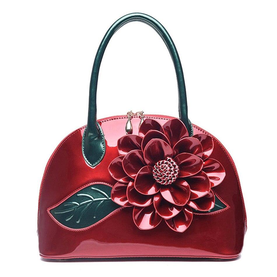 Brand top-handle bags handbag PU leather women bag Handmade flower design ladies small shopping bag crossbody bags for women