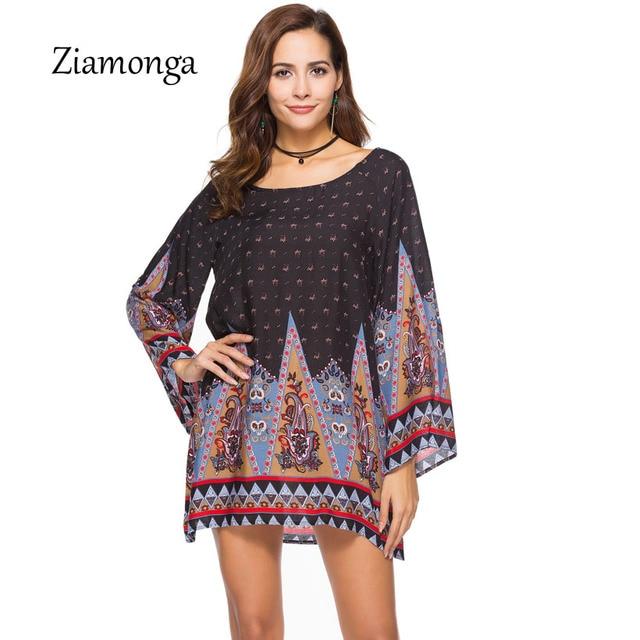 885e47847112 Ziamonga Estate Stile Indiano Barocco Vestito Desigual Vintage Vestito Da Estate  2018 Abiti Beachwear Manica Lunga