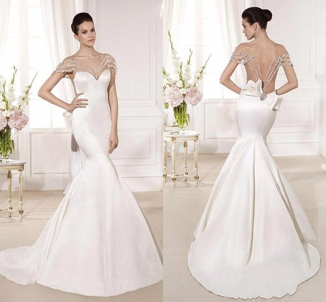 Vestido de festa 2017 Satin Mermaid Wedding Dresses Cut with Sheer ...