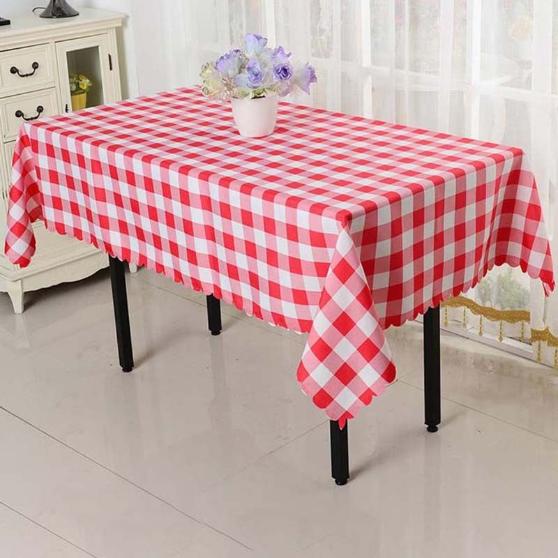 10pcs red polyester grid rural table cloth 140*200cm restaurant decoration For Wedding Hotel Banquet FREE SHIPPING Marious