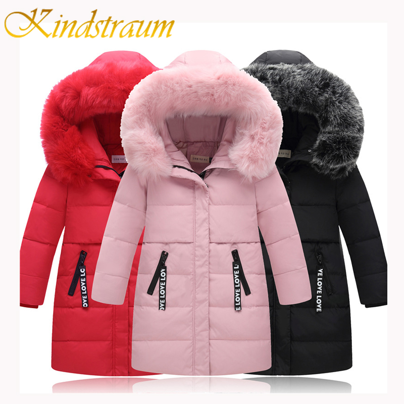 Kindstraum 2017 New Fashion Winter Girls Down Coat Kids Warm Long Jacket Hooded Raccoon Children Letter Duck Down Outwear, MC845 kindstraum 2017 fashion kids winter jacket cotton new boys girls warm hooded coat children casual dinosaur outwear printed mc802