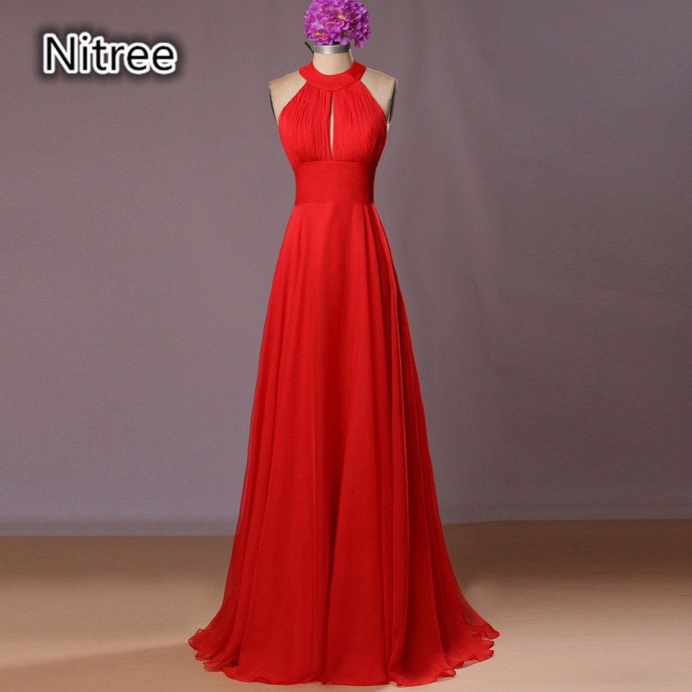 Bright Red A Line Chiffon Long Bridesmaid Dresses Real Photos Sleeveless Summer Open Back Maid of Honor Gowns Wedding Guests 2