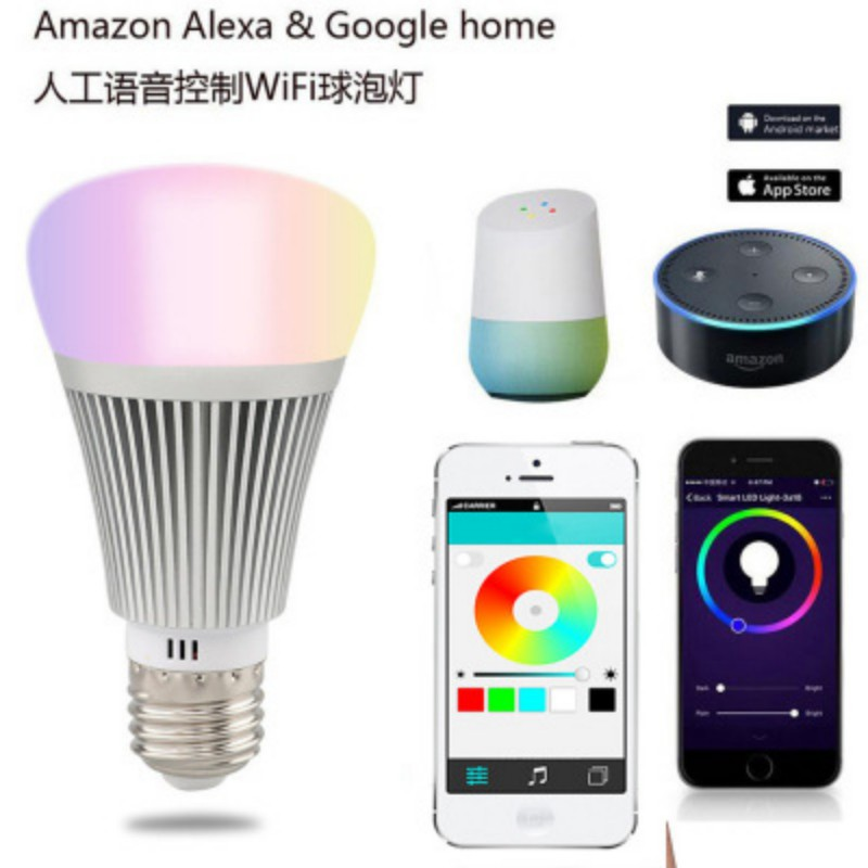 LED Wi-Fi Smart Light Bulb Equivalent(7W) Dimmable 60W Smartphone Controlled Multicolored Color Changing Lights new