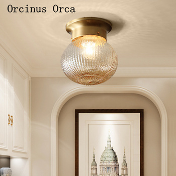 American all-copper gold small ceiling lamp balcony staircase corridor modern simple classic LED glass ceiling lamp