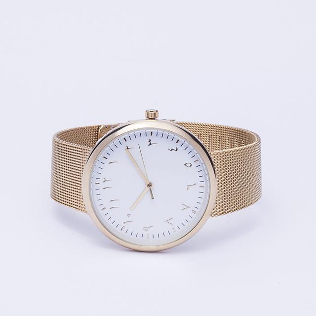 Color oro Árabe Relojes Movimiento de Cuarzo de Acero de Malla Correas
