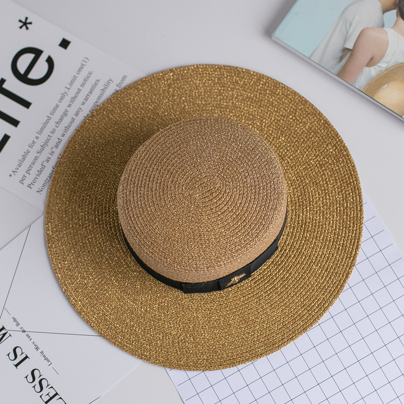 Spring and summer new retro gold braided flat head straw hat lady wide eaves sunscreen sun hat  summer hat cap(China)