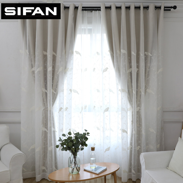 European White Birds Embroidered Tulles Sheer Voile Curtains Blackout For Living Room Bedroom Double