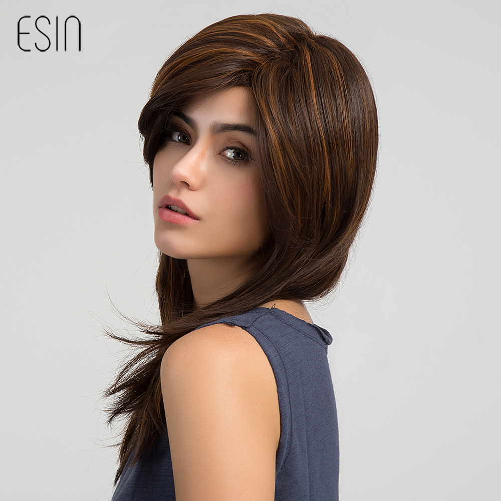 Esin 24 Long Layered Natural Wave Wig Women Highlights Synthetic Wigs with Bangs Left Side Parting Brown Mixed Blonde