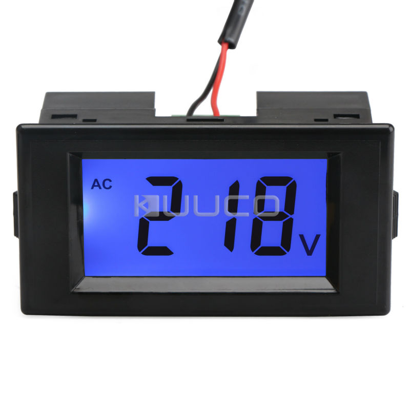 AC 110V 220V Digital Electronic Volt Meter Tester AC 80-500V Blue Backlight LCD Voltage Monitor Meter