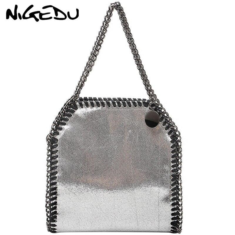 821424170490 NIGEDU Fashion Mini Chain Handbag women Soft PU leather Crossbody bag luxury  design Weaving female Shoulder
