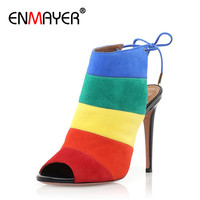 ENMAYER Glagiator Ankle Strap Shoes Woman Sexy High Heels Womens Shoes Summer Sandals Pumps PartyShoes Peep