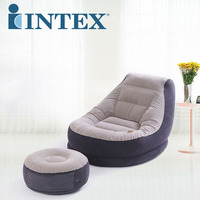 INTEX 68564 99*130*76CM/64*28CM Inflatable Flocking Single Sofa Lazy Sofa Bed With Footrest With Foot Pump